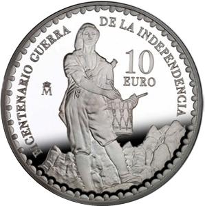 Bicentenario Guerra Independencia. 10 euros (plata)2008Timbaler del Bruc (1)
