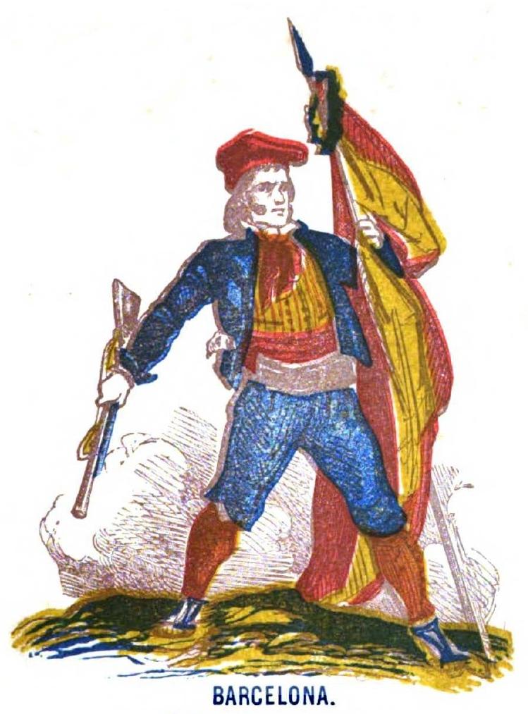 CATALAN CON BANDERA NACIONAL. ILUSTRACION DE 1861.-TARRAGONA