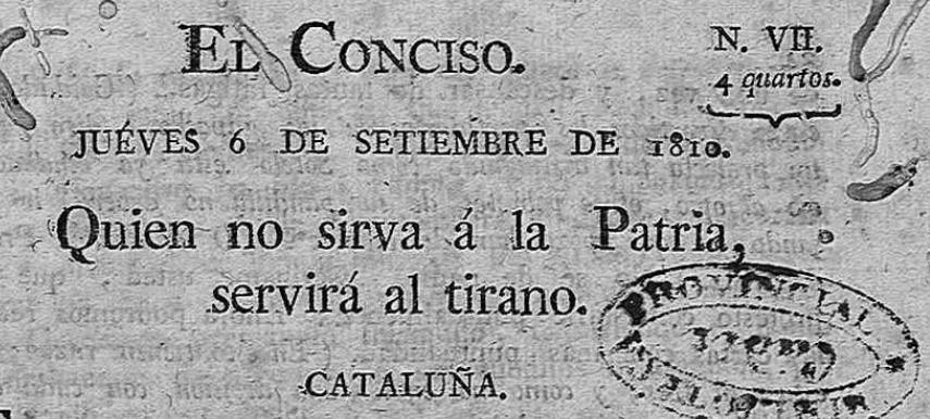 EL CONCISO.  6 DE SEPTIEMBRE DE 1810. CATALUÑA