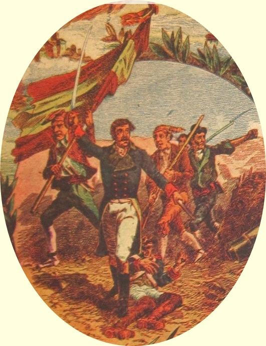 El Grito de la Independencia por Carlos Mendoza. Año 1900. Editorial Ramon Molinas. BARCELONA. Detalle portada libro.