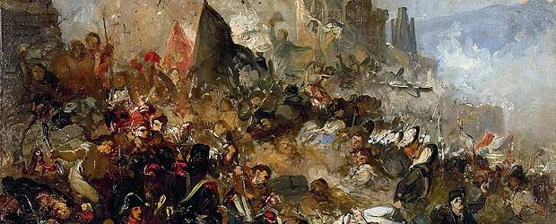 Els setges.  Defensa de Gerona, contra los franceses en 1809 .  Óleo sobre lienzo 1865. Ramon Martí i Alsina  Pintor realista catalán