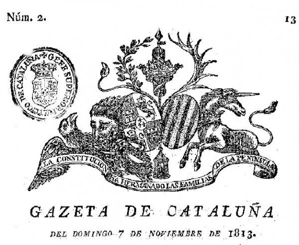 GAZETA DE CATALUÑA 1813 (CABECERA) TARRAGONA