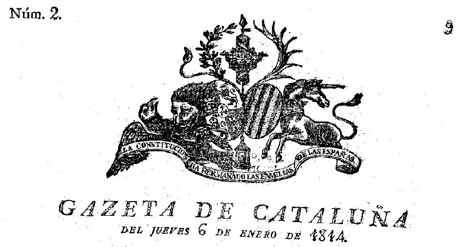 GAZETA DE CATALUÑA 1814 (PORTADA) GERONA