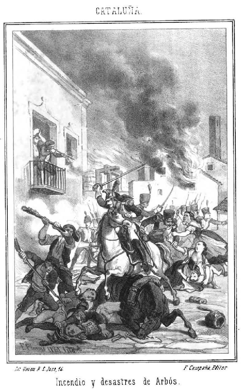 Incendio y desastres de Arbós. Guerra de la Independencia Española