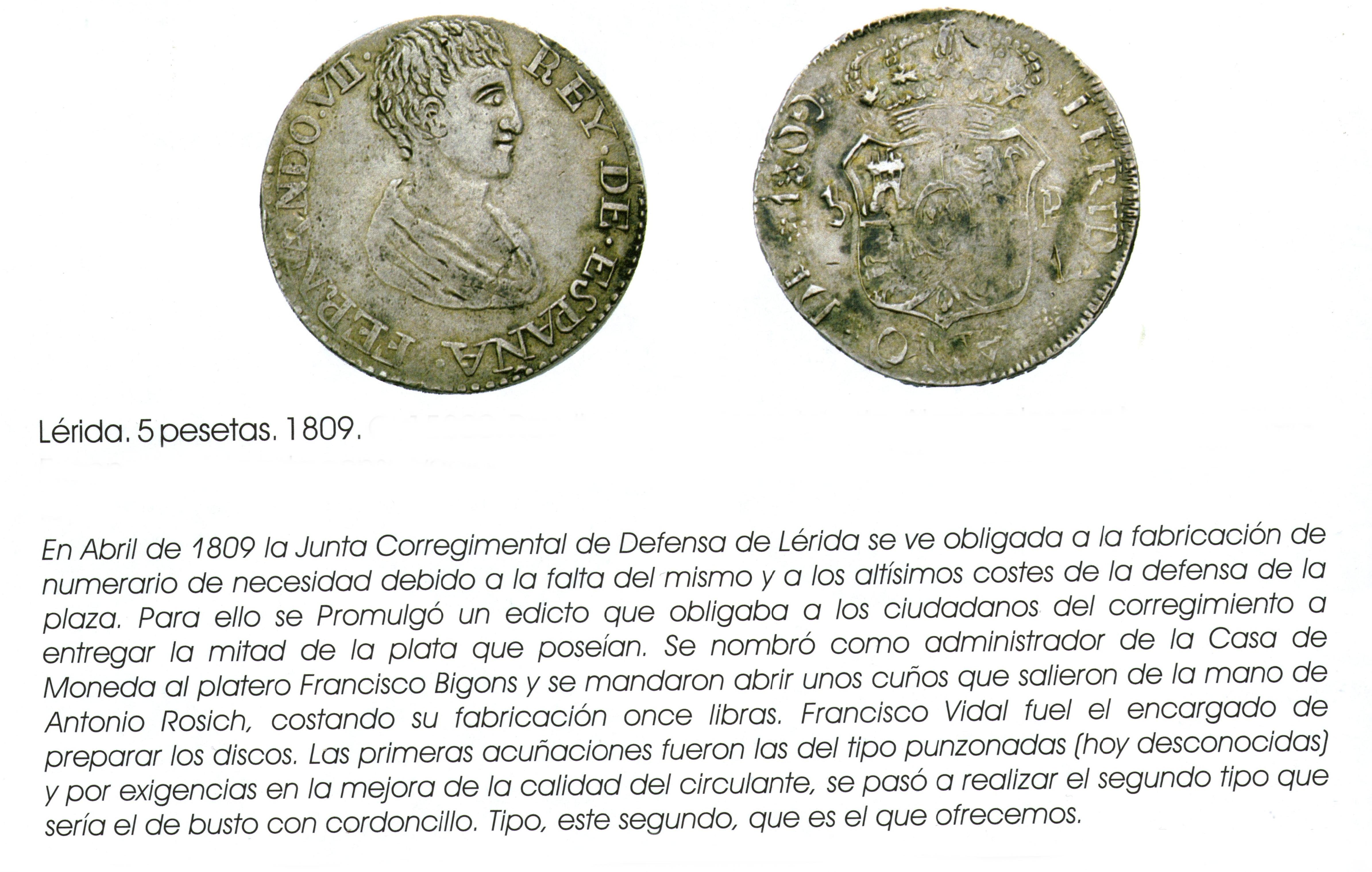 LERIDA 1809  FERNANDO VII. 5 PESETAS CAYON SUBASTAS. 11-12-2008. LOTE 2169