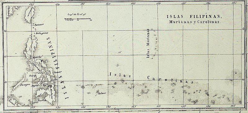 Mapa de las islas Filipinas, islas ,Marianas y Carolinas. La defensa de las Carolinas.