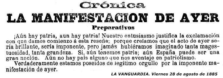 Reseña La VANGUARDIA. 28-08-1885 Pagina nº  5548