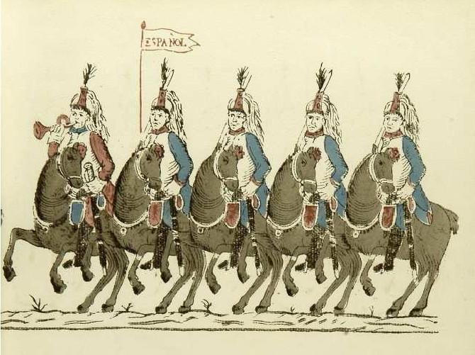 Soldados del primer Regimiento de Acorazados Españoles. Organizado en Reus en 1811. Tarragona