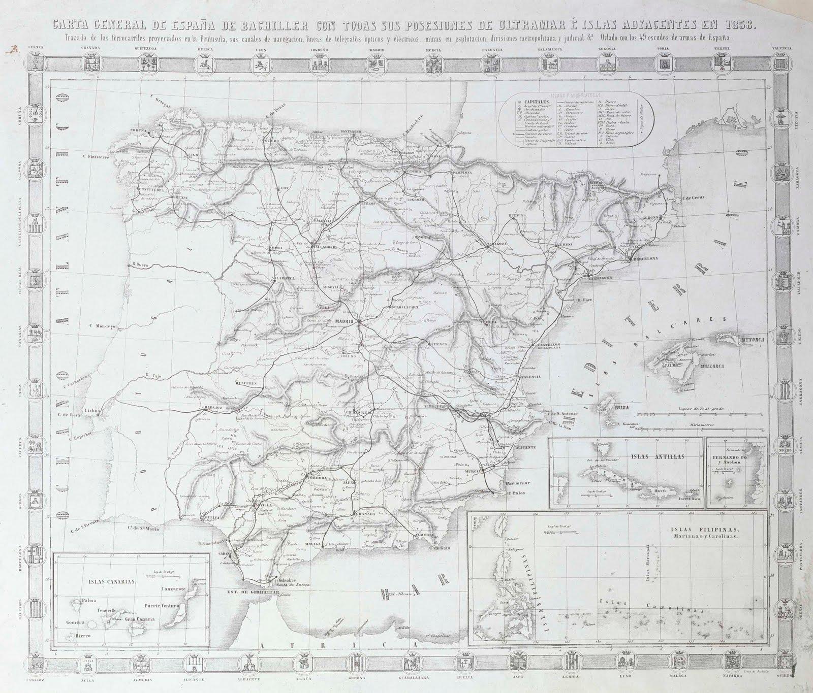 Carta General de España de Bachiller con todas sus posesiones de Ultramar e Islas adyacentes en 1858.