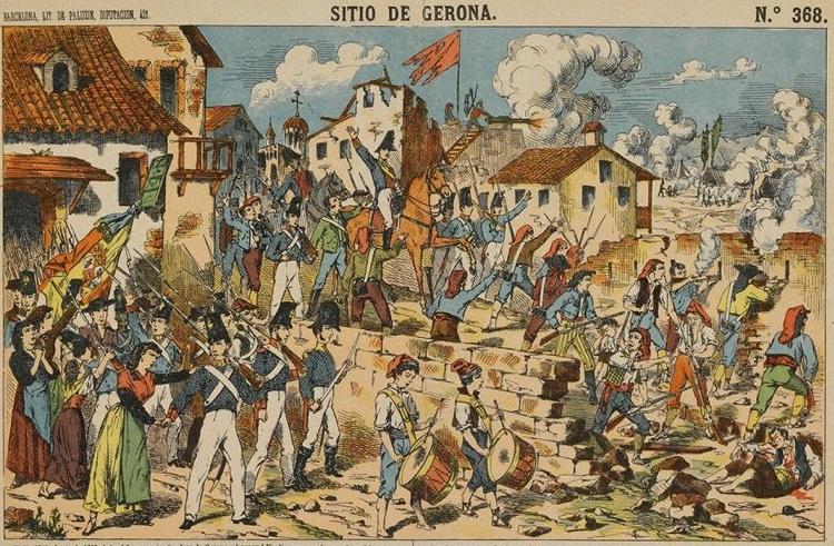 sitio de gerona con bandera española Sitio de Gerona. Paluzie, núm.368. Litografia sobre papel de 29x40cm. Barcelona ca.1886.