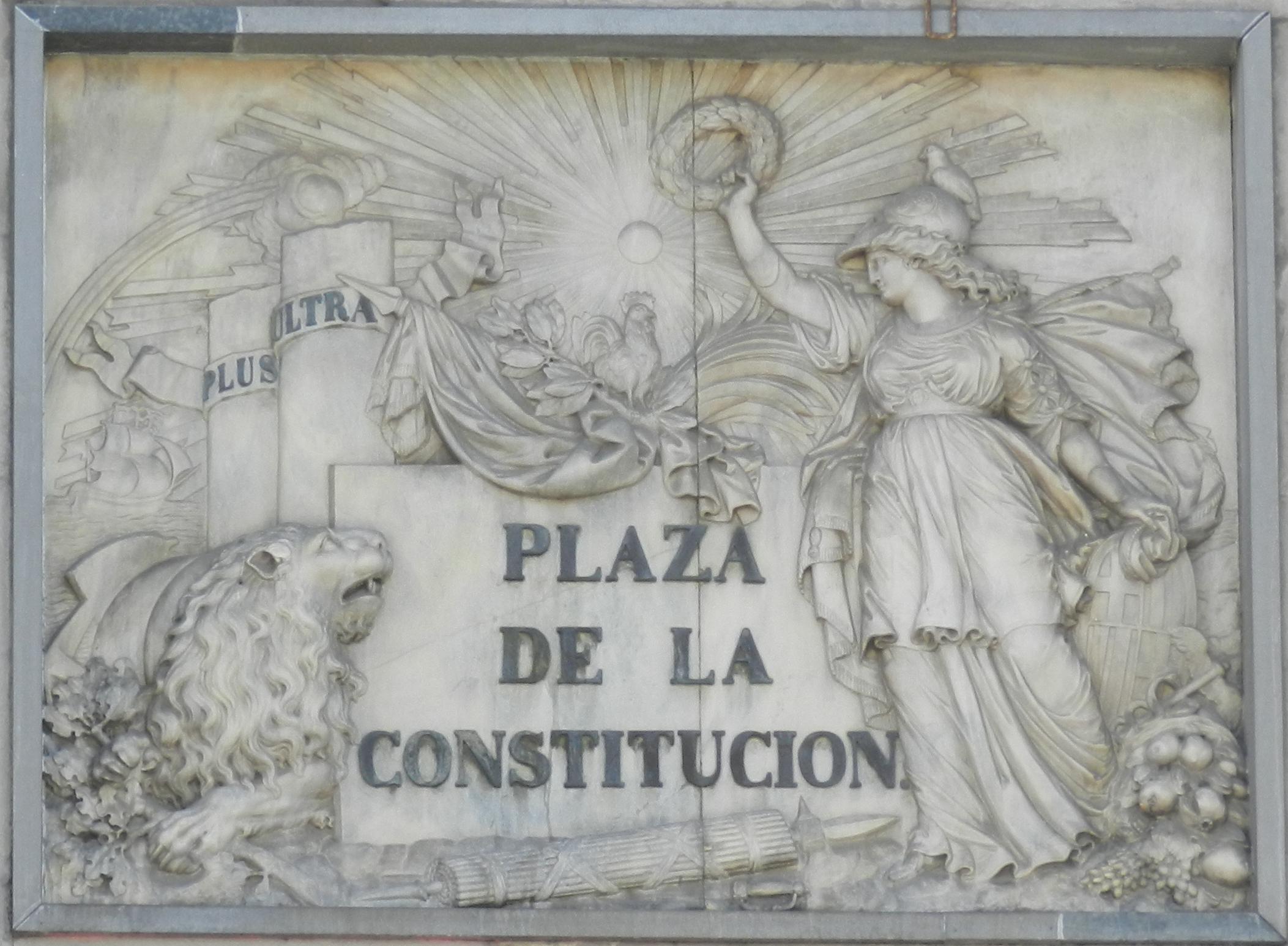 Bajorrelieve del escultor catalán español Celdoni Guixà (1787-1848).Constitución Española.