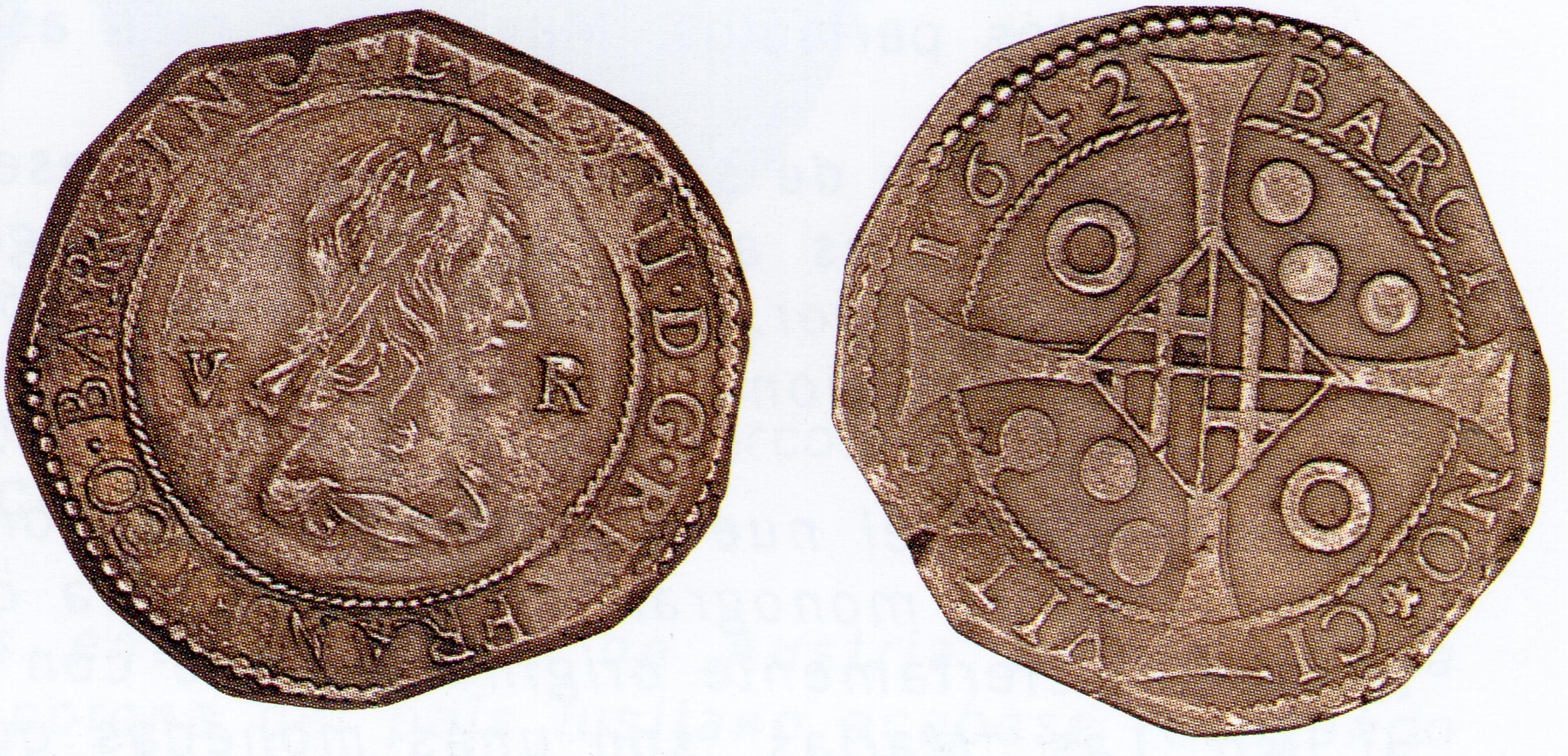 Luis XIII. 5 reales acuñados en Barcelona en 1642