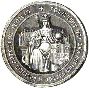 SELLO DE ISABEL LA CATOLICA. Historia del reinado de los Reyes Catolicos, D. Fernando y Da. Isabel.Madrid. 1866