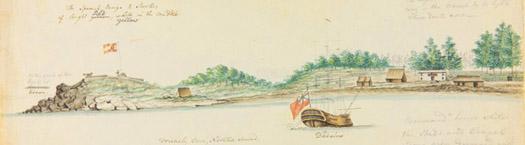 Del capitán George Vancover suministro nave Daedalus y la fortaleza española en Nootka Sound, 1792.