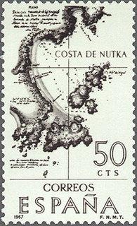 España 1967 Edifil 1820 Sello VIII Forjadores de América. Costa de Nutka