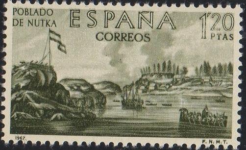 España 1967 Edifil 1820 Sello VIII Forjadores de América.fuerte español