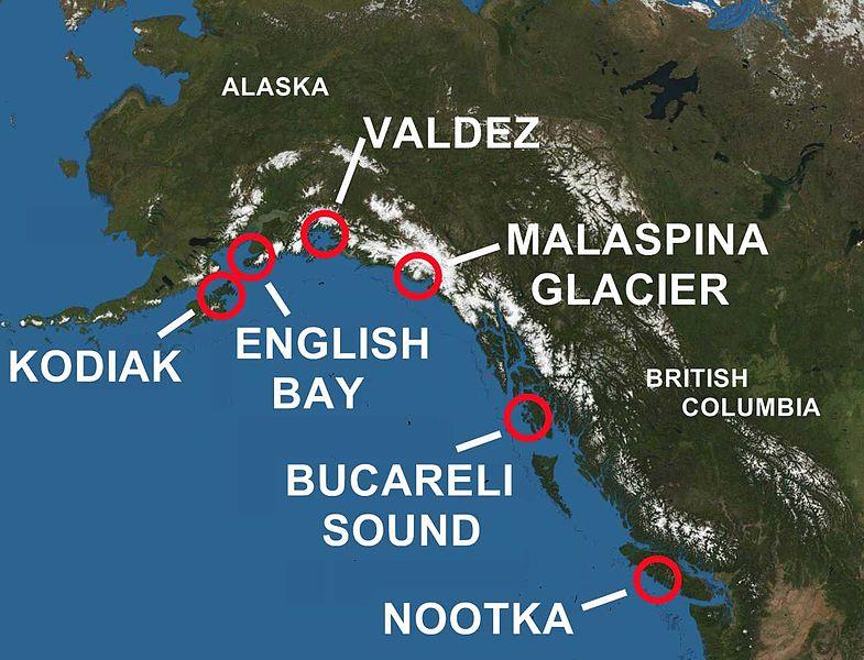 Localización de los lugares de contacto españoles en el Pacífico Noroeste