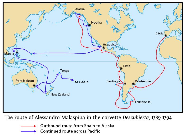 Ruta de la Expedicion de Malaspina 1789-1794